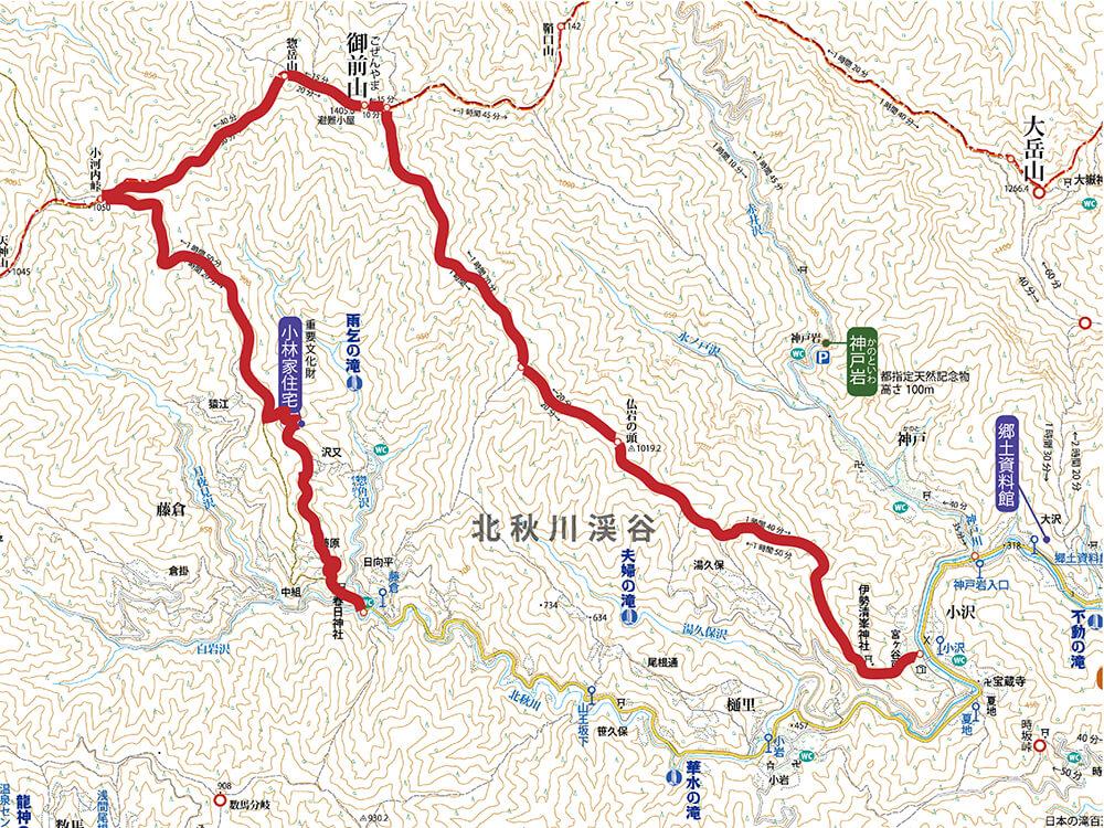 御前山の登山地図