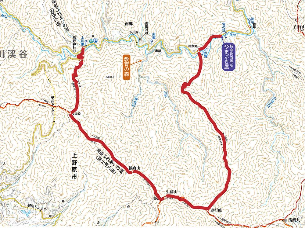 熊倉山・三国山・生藤山の登山地図