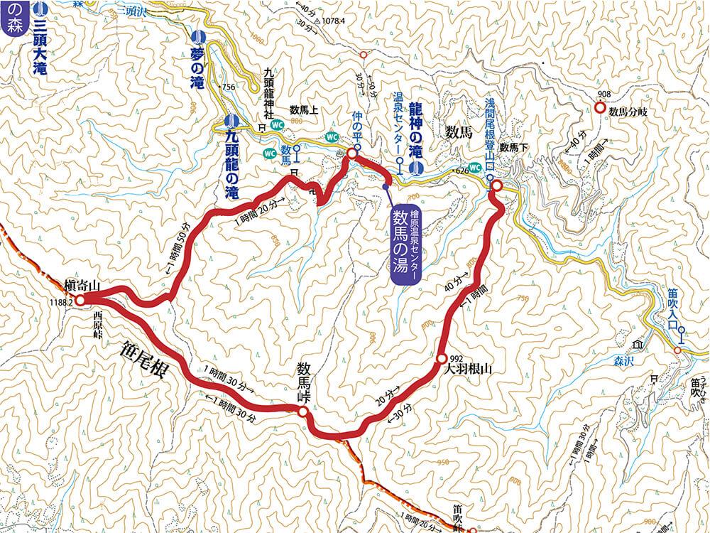 大羽根山・数馬峠・槇寄山の登山地図