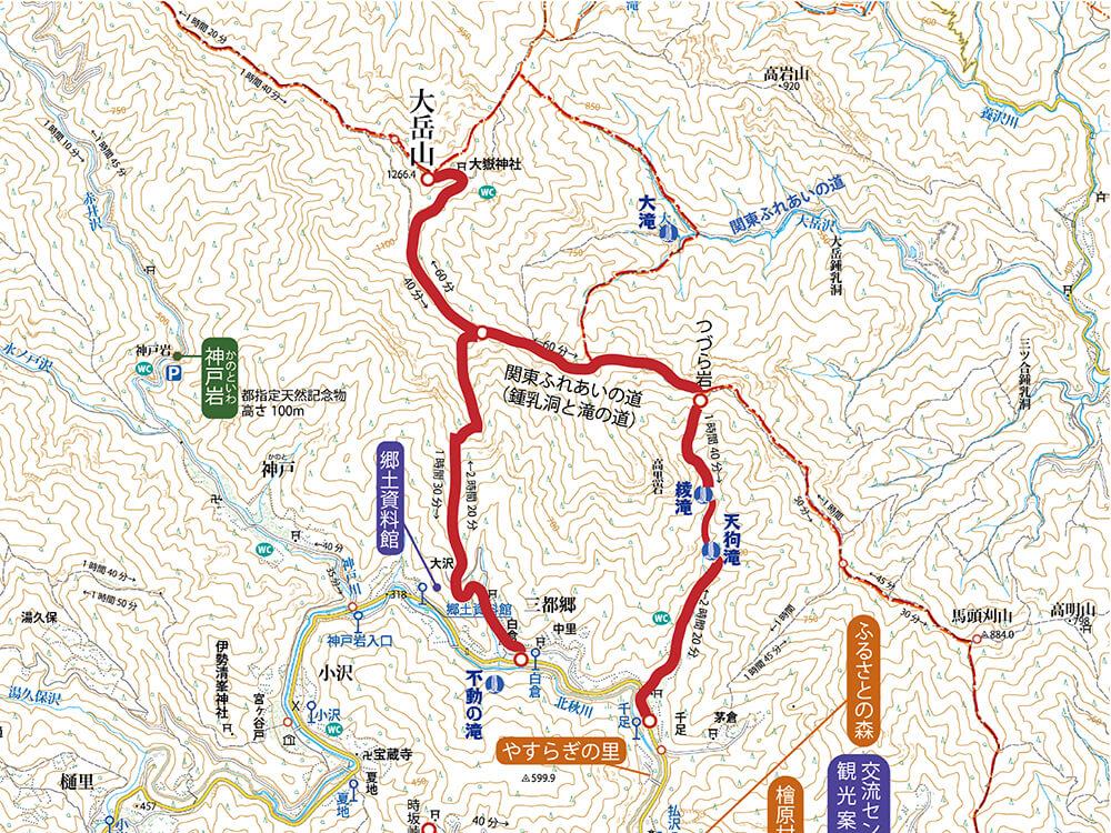 大岳山の登山道地図