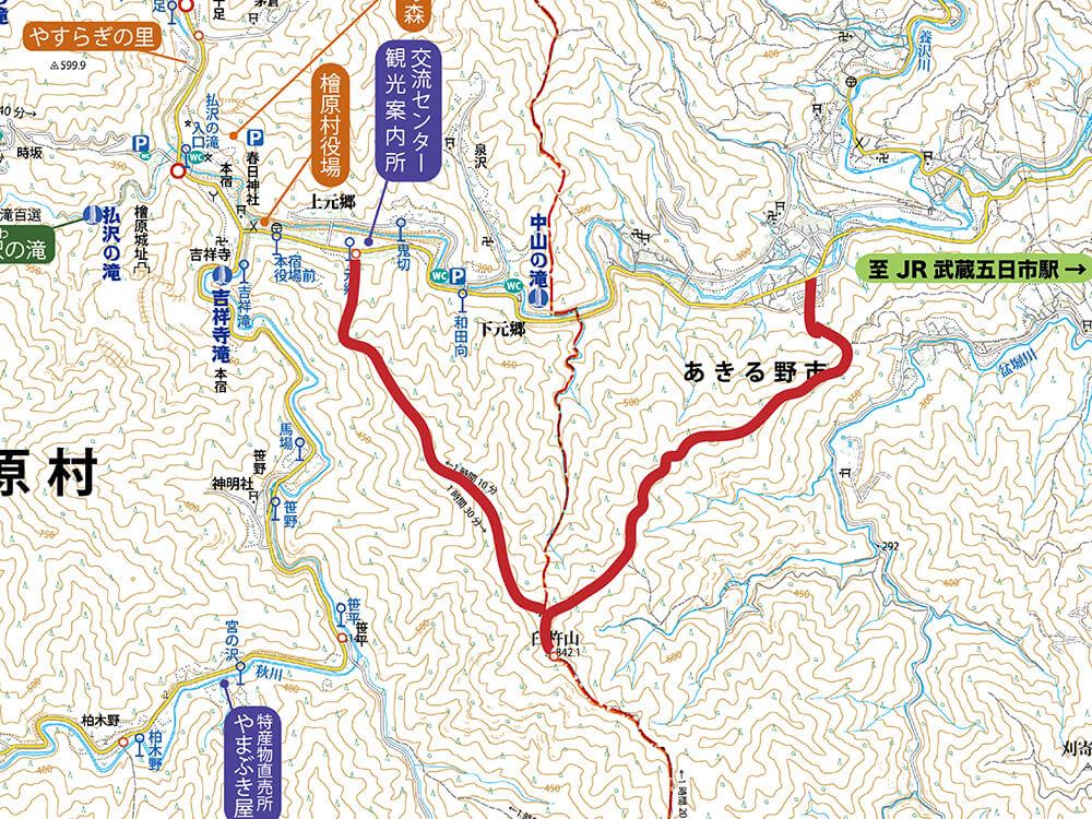 臼杵山の登山地図